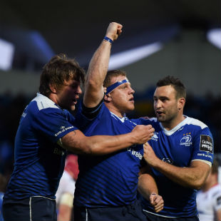 Sean Cronin, centre, of Leinster celebrates after scoring his side's third try with team-mates Jordi Murphy, left, and Dave Kearney during the Guinness PRO12 Play-off match between Leinster and Ulster at the RDS Arena in Dublin. (Photo By Stephen McCarthy/Sportsfile via Getty Images)