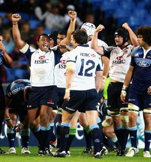 The Waratahs' Sekope Kepu leads the celebrations after his side's victory over the Blues, Blues v Waratahs, Super 14, Eden Park, Auckalnd, New Zealand, March 27, 2009
