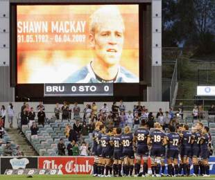 Brumbies players gather to applaud former team mate Shawn Mackay who recently passed away, Brumbies v Stormers, Super 14, Canberra Stadium, Canberra, Australia, April 11, 2009