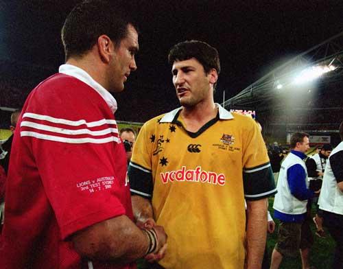 John Eales and Martin Johnson shake hands