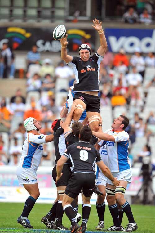 The Sharks' Albert van den Berg claims a lineout ball