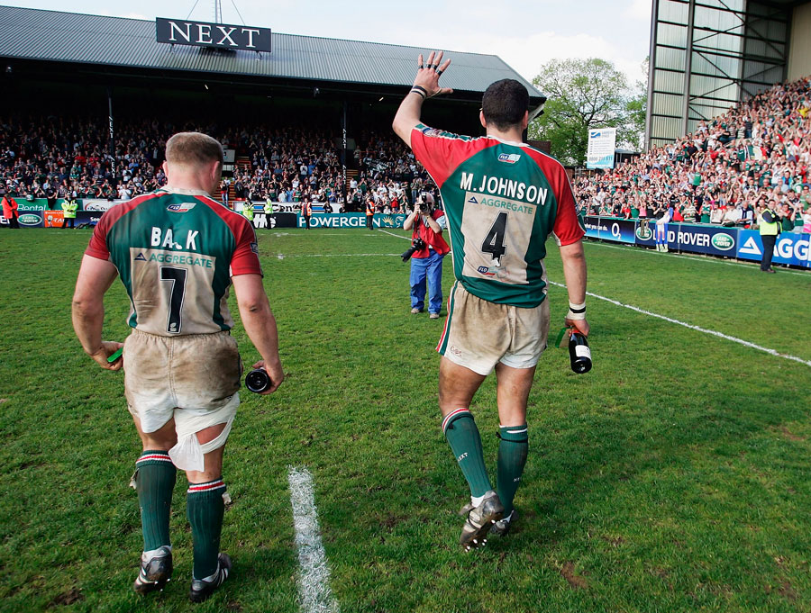 Martin Johnson and Neil Back salute the Welford Road crowd