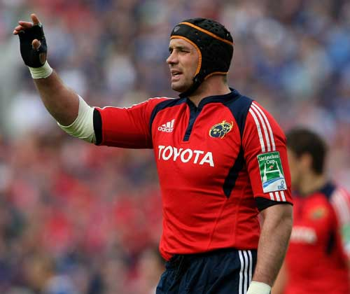 Munster's Alan Quinlan directs the action