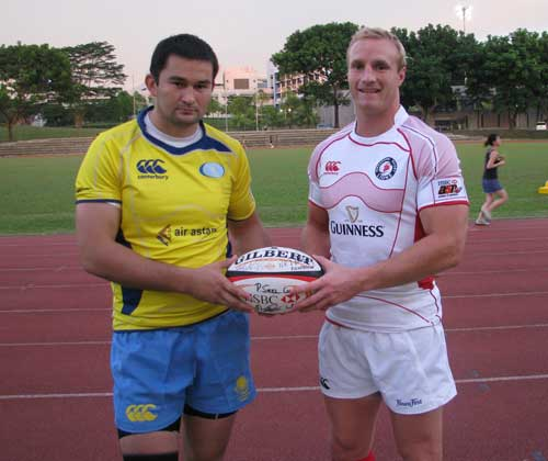 Kazakhstan captain Timur Mashur and Singapore skipper Ben Wheeler