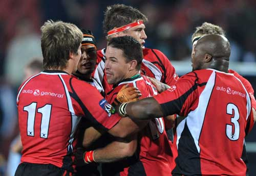The Lions' Andre Pretorius celebrates with his team mates