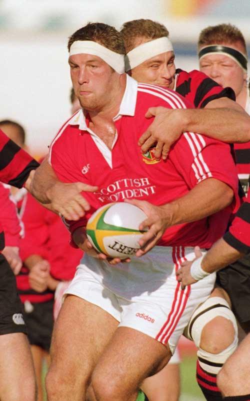 Simon Shaw powers forward for the British and Irish Lions