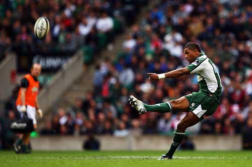 London Irish centre Delon Armitage kicks for goal