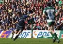 Leinster fly-half Jonathan Sexton lands a 45 metre drop-goal