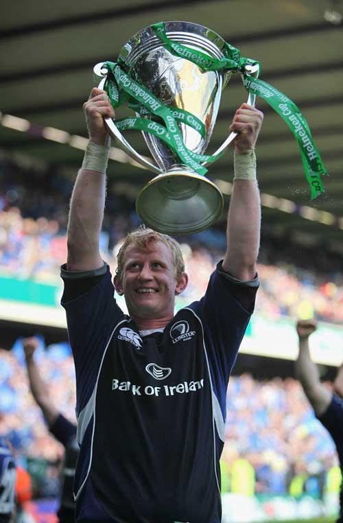Leinster's Leo Cullen hoists the Heineken Cup