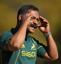 South Africa coach Peter De Villiers looks on during training