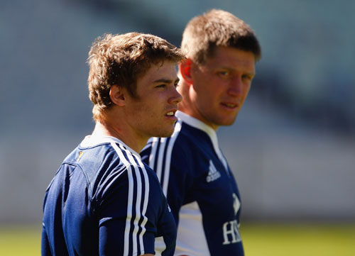 British and Irish Lions players Leigh Halfpenny and Ronan O' Gara discuss tactics in Bloemfontein
