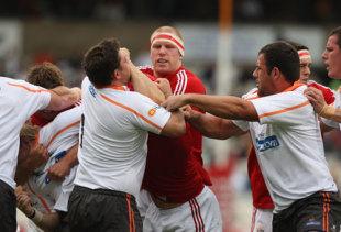 British & Irish Lions' captain Paul O'Connell tustles against the Cheetahs