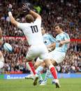 Argentina fly-half Juan Martin Hernandez scores a drop goal