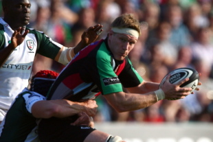 Jim Evans of Harlequins is tackled during the Guinness Premiership game between Harlequins and London Irish at the Twickenham Stoop on September 27, 2008 in London, England.