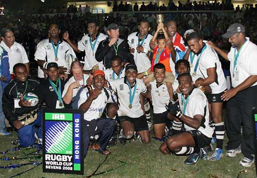 Fiji celebrate with the Melrose Cup