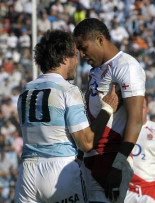 England fullback Delon Armitage and Argentina fly-half Juan Martin Hernandez argue, Argentina v England, Ernesto Maltearena, Salta, June 13, 2009