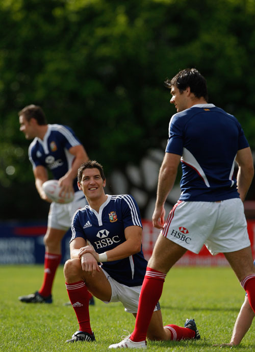British & Irish Lions players James Hook and Mike Phillips share a joke during training at Bishops School, Cape Town