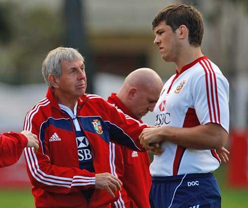 Lions head coach Ian McGeechan chats to lock Donncha O'Callaghan