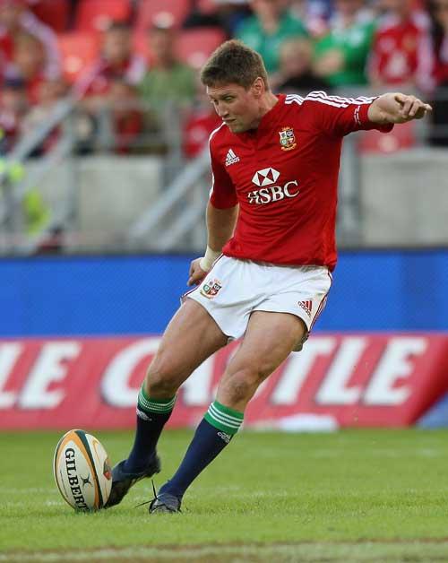 British & Irish Lions fly-half Ronan O'Gara lands a penalty