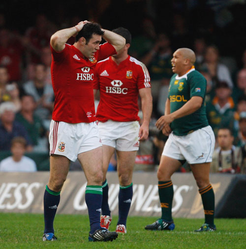 Lions fly-half Stephen Jones looks devastated