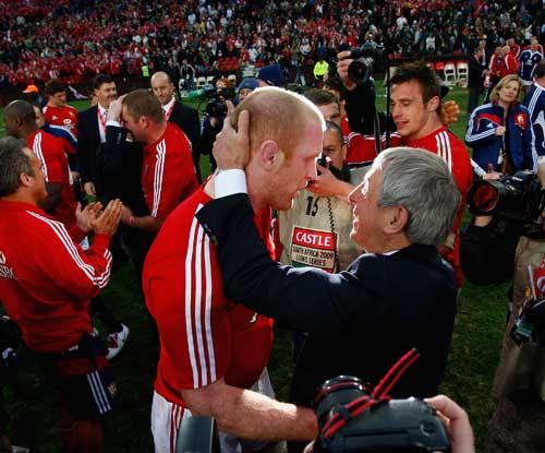 British & Irish Lions skipper Paul O'Connell is congratulated by coach Ian McGeechan
