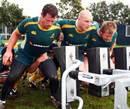 Australia's Al Baxter, Stephen Moore and Benn Robinson pack down