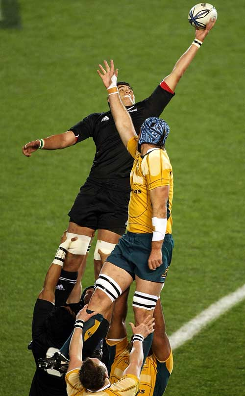 New Zealand lock Isaac Ross plucks a lineout from the air