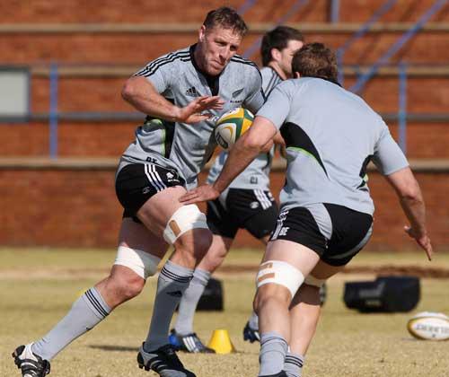New Zealand's Brad Thorn on the burst during training
