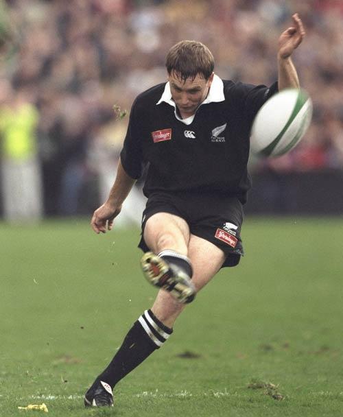 Legendary All Blacks fly-half Andrew Mehrtens kicks a conversion