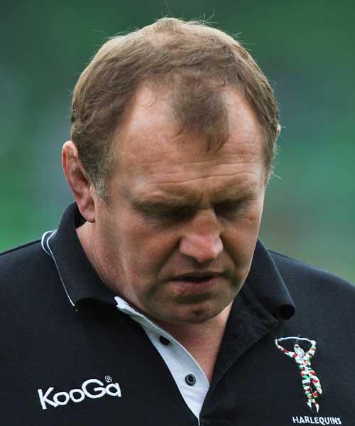 Harlequins' Director of Rugby Dean Richards hangs his head