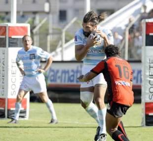 Racing Metro lock Sebastien Chabal claims a high ball