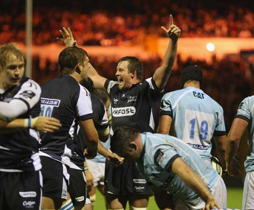 Sale skipper Dean Schofield celebrates his side's victory