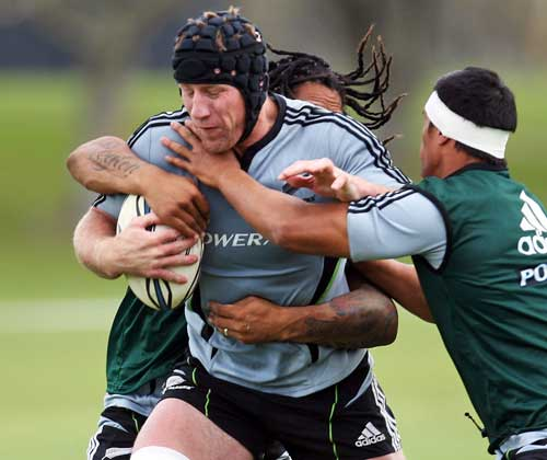 New Zealand's Brad Thorn in action during a training session