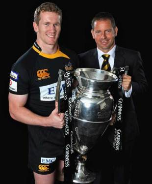 Wasps captain Tom Rees and director of rugby Tony Hanks, Guinness Premiership launch, Twickenham, England, August 27, 2009