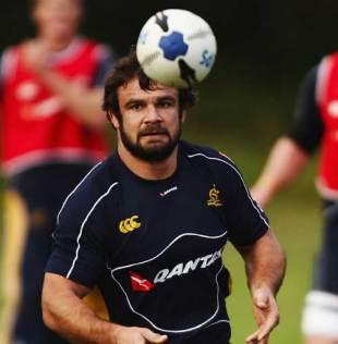 Australia hooker Adam Freier waits to catch the ball during training at Matraville Sports High, Sydney, Australia, July 29, 2008