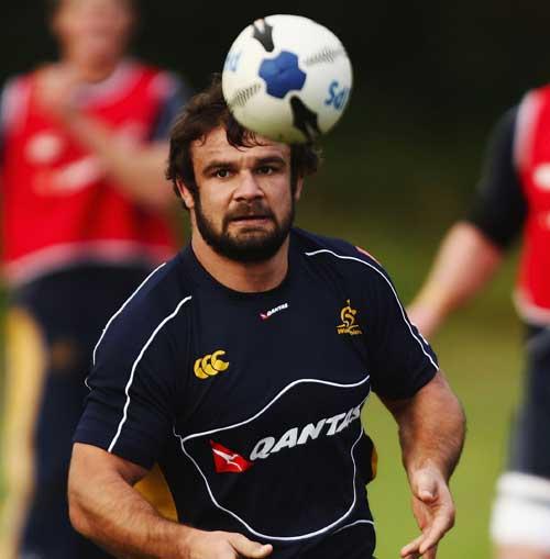 Australia hooker Adam Freier waits to catch the ball