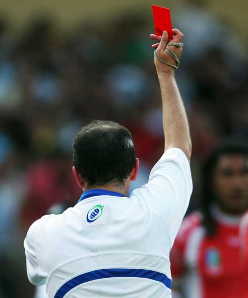 Referee Jonathan Kaplan brandished a red card for Tonga's Hale T-Pole