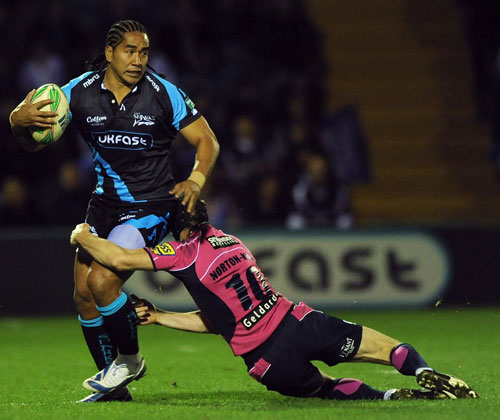 Sale centre Andy Tuilagi is shackled by Cardiff fly-half Sam Norton-Knight