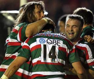 Leicester winger Lucas Amorosino is congratulated on his try, Leicester Tigers v South Africa XV, Tour Match, Welford Road, Leicester, England, November 6, 2009