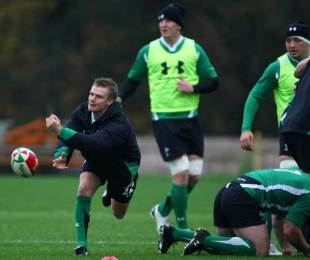Wales scrum-half Dwayne Peel fires a pass during training at the Vale Hotel, Vale of Glamorgan, November 10, 2009