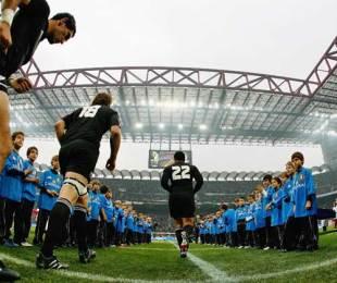 New Zealand take to the field at the San Siro in Milan, Italy v New Zealand, San Siro Stadium, Milan, Italy, November 14, 2009