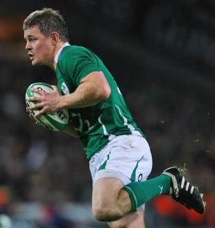 Ireland's Brian O'Driscoll races away to score a try, Ireland v Australia, Croke Park, Dublin, Ireland, November 15, 2009