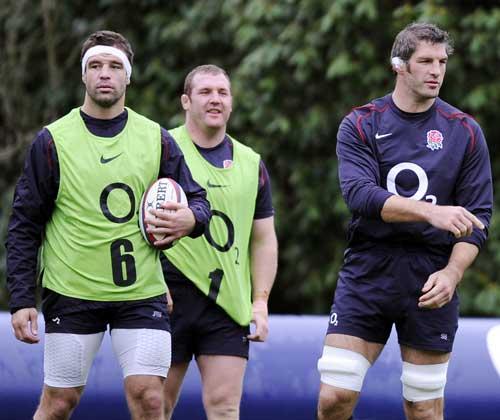 England's Joe Worsley, Tim Payne and Simon Shaw during training