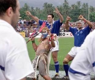 France skipper Rafael Ibanez faces down the Samoan siva tau, Samoa v France, Apia Park, Samoa, June 22, 1999