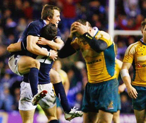 Scotland celebrate victory over Australia