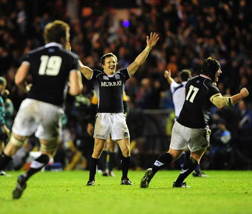 Scotland scrum-half Rory Lawson celebrates at the final whistle