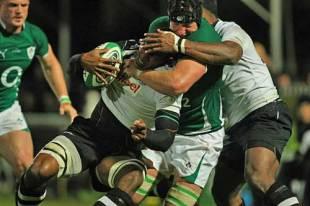Ireland's Stephen Ferris tackles Fiji's Asaeli Boko, Ireland v Fiji, RDS, Dublin, Ireland, November 21, 2009