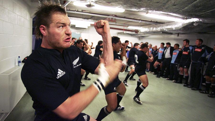 All Black lock Ali Williams leads the Haka indoors at the Millennium Stadium