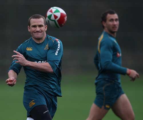 Australia fly-half Matt Giteau fires a pass