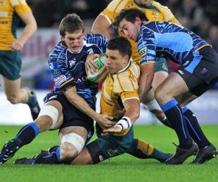 Australia's Matt Tooma is felled by the Blues' defence, Cardiff Blues v Australia, City of Cardiff Stadium, Cardiff, Wales, November 24, 2009